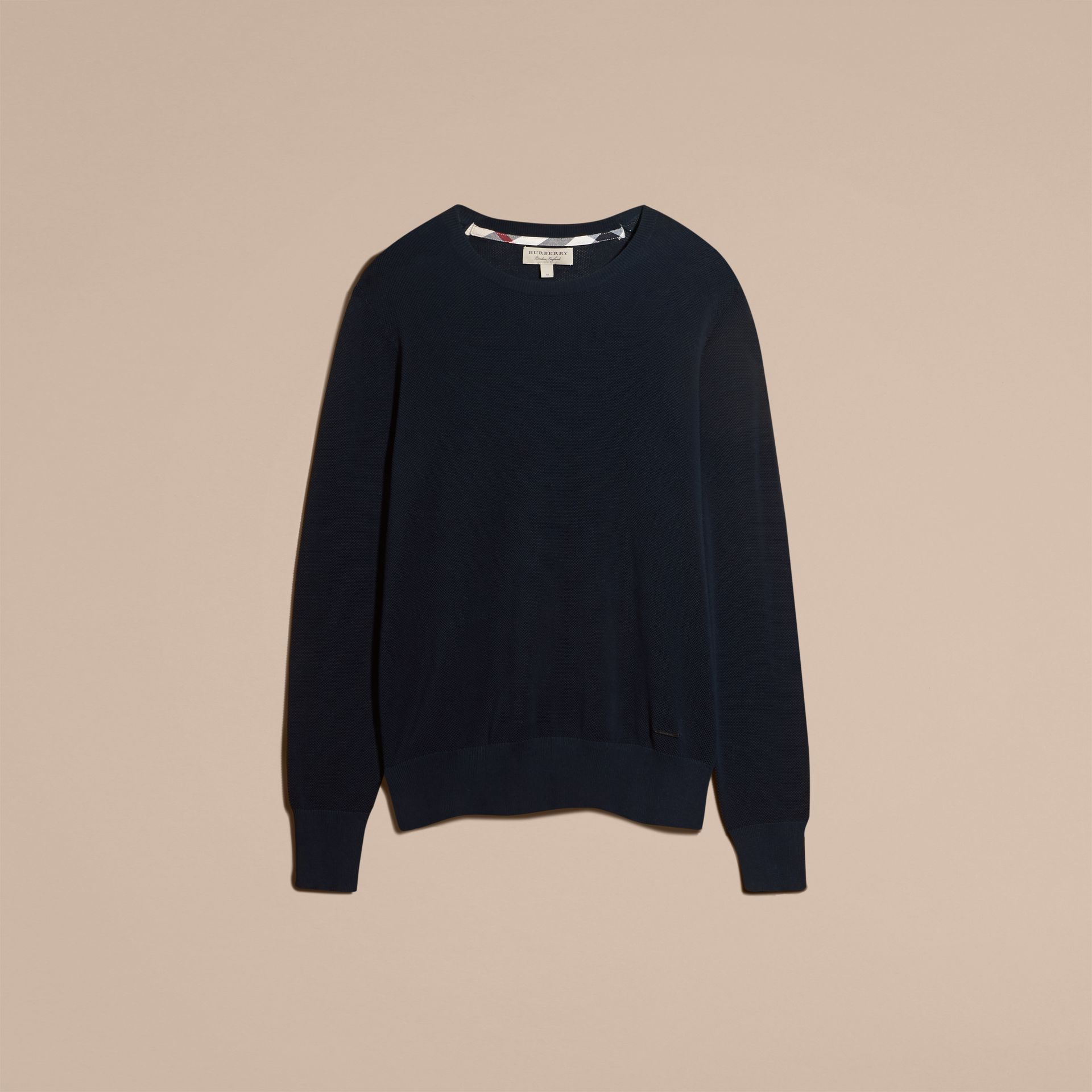 Crew Neck Textured Cotton Sweater in Navy - Men | Burberry - gallery image 3