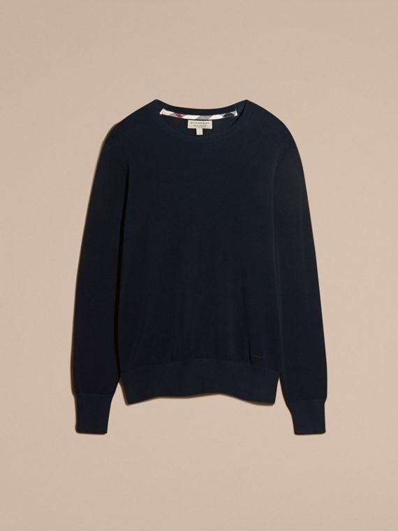 Crew Neck Textured Cotton Sweater in Navy - Men | Burberry - cell image 3