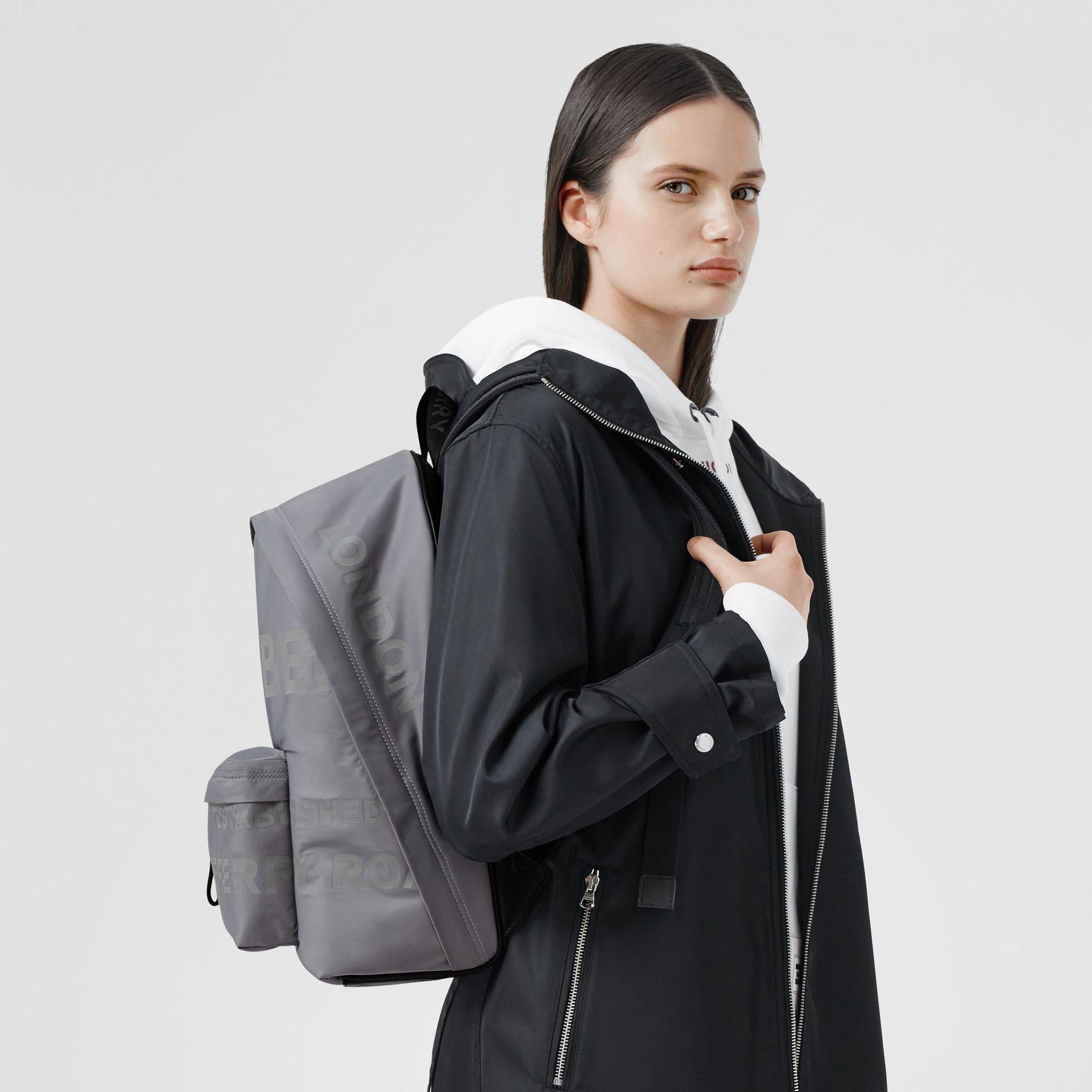 Horseferry Print ECONYL® Backpack in Cloud Grey | Burberry - gallery image 2