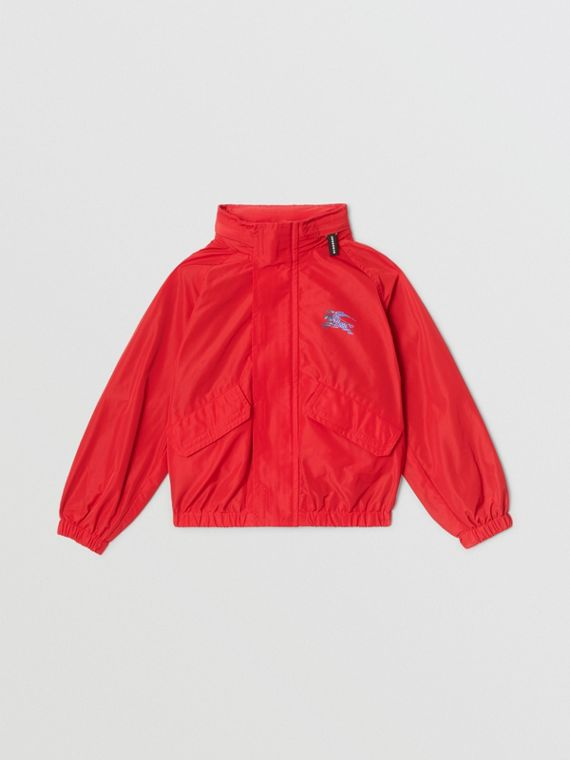 Packaway Hood Shape-memory Taffeta Jacket in Red