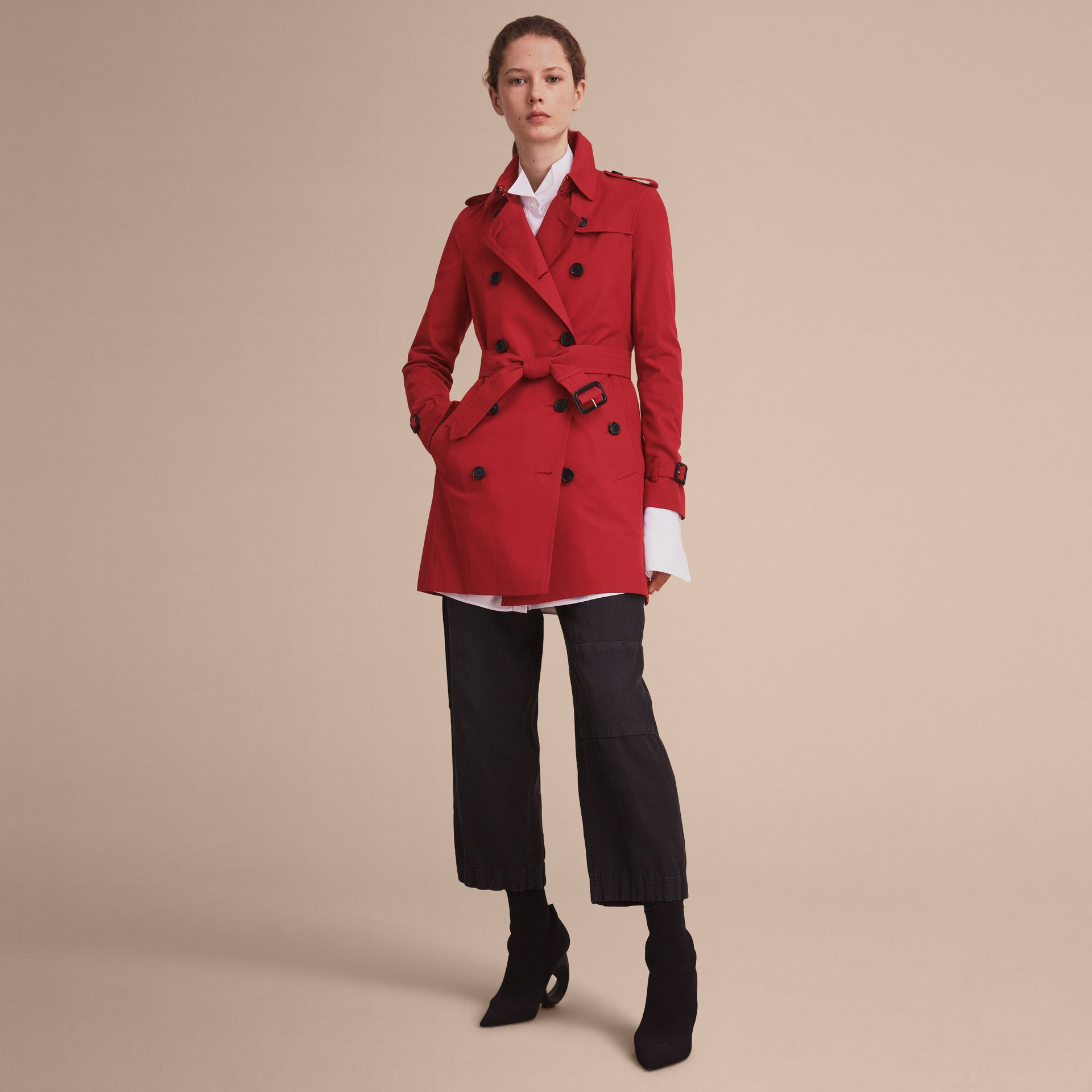 Parade red The Kensington – Mid-Length Heritage Trench Coat Parade Red - gallery image 8