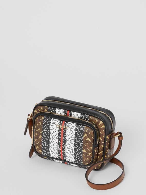 Monogram Stripe E-canvas Camera Bag in Bridle Brown | Burberry - cell image 3