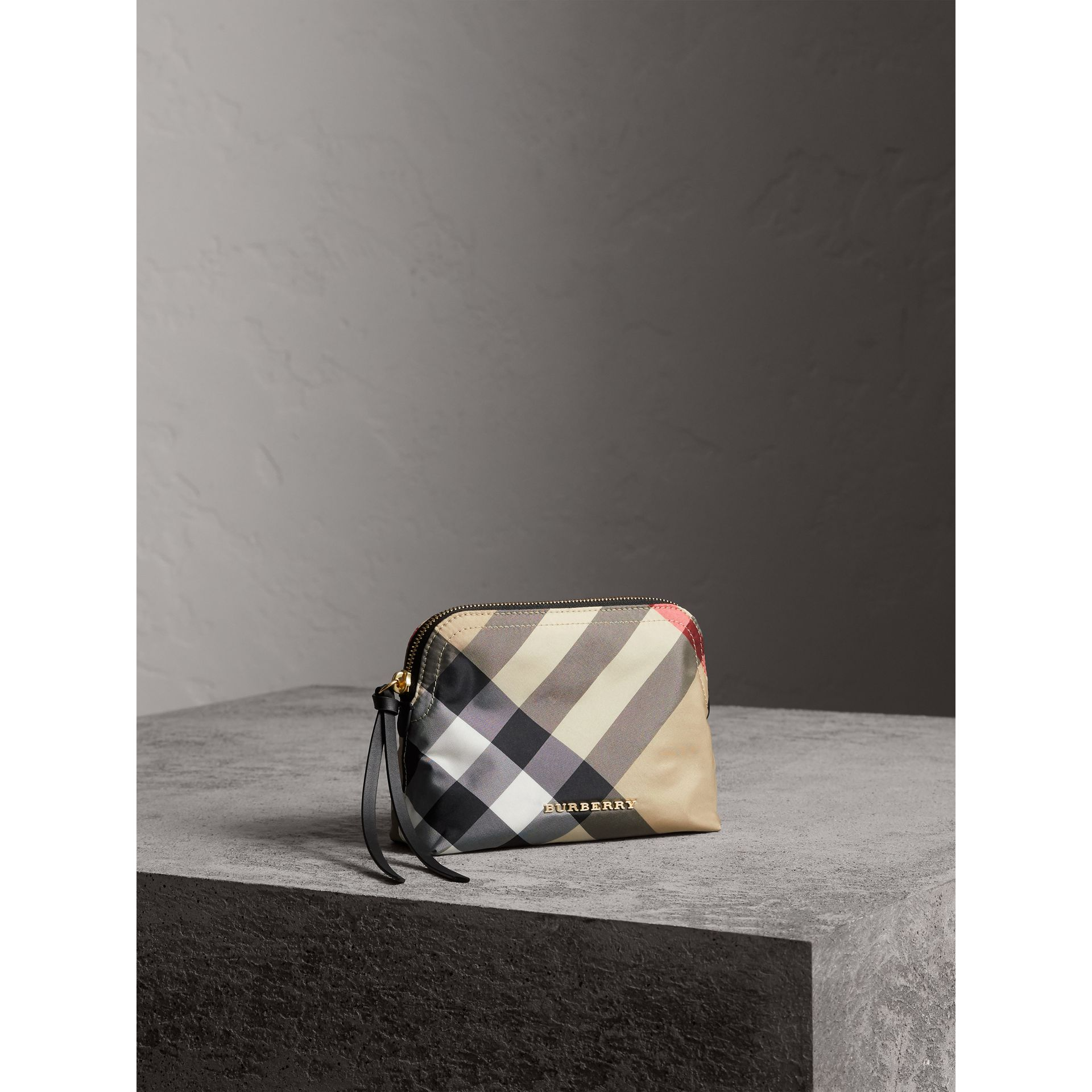 Medium Zip-top Check Technical Pouch in Camel - Women | Burberry - gallery image 6
