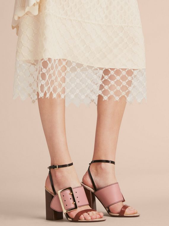 Buckle Detail Colour Block Leather Sandals in Nude Pink - Women | Burberry - cell image 2