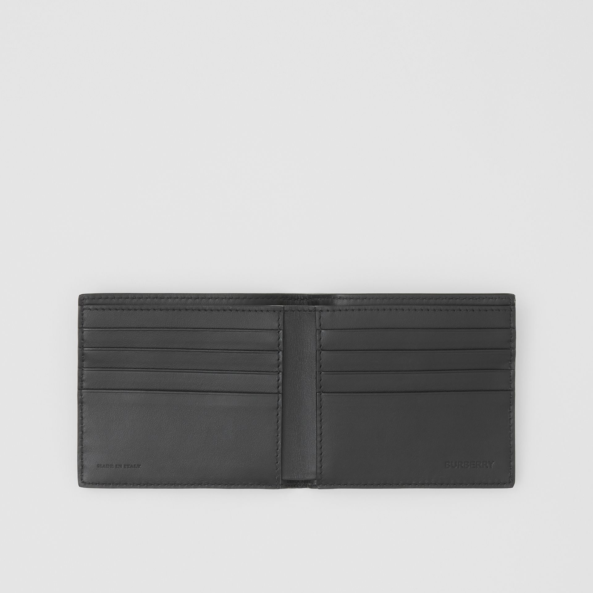 Logo Print Leather International Bifold Wallet in Black | Burberry - gallery image 2