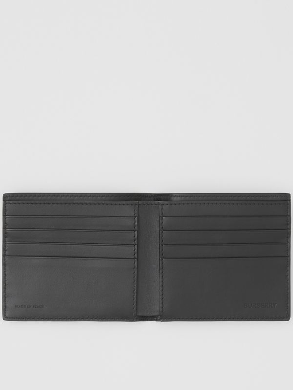 Logo Print Leather International Bifold Wallet in Black | Burberry - cell image 2