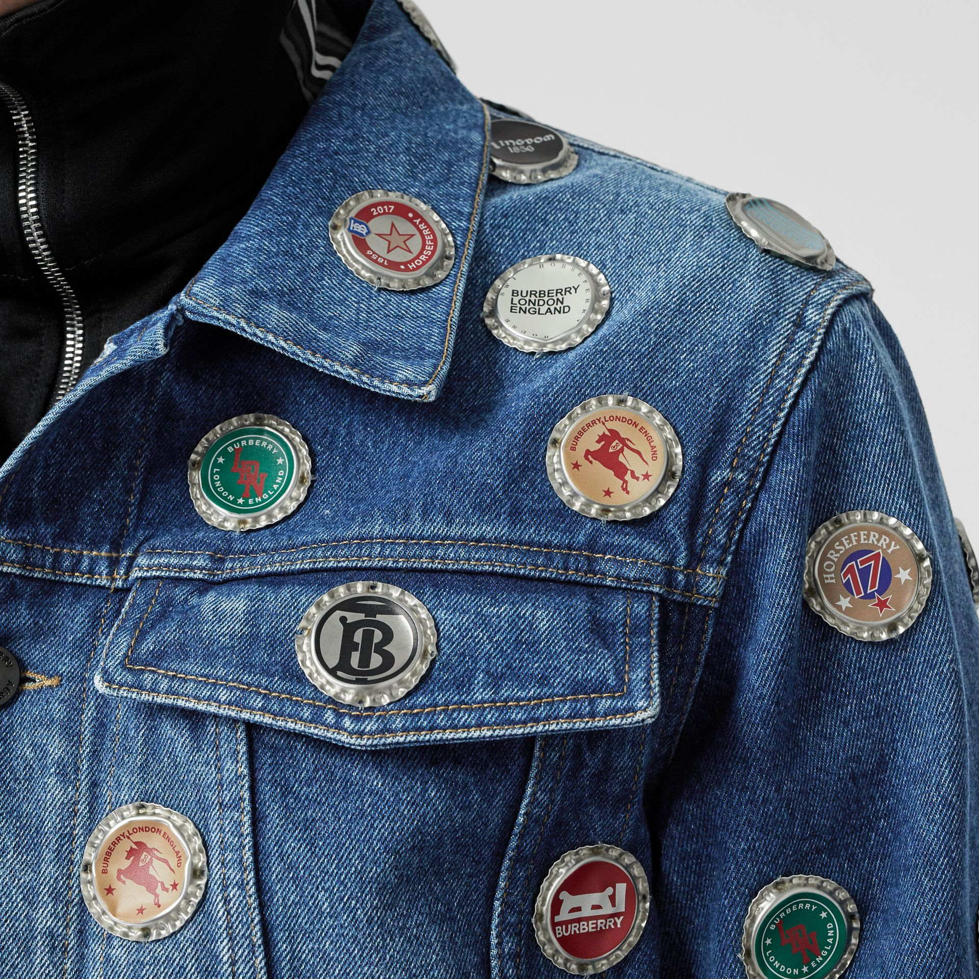 Bottle Cap Detail Stonewashed Denim Jacket in Indigo Blue - Men | Burberry - gallery image 5