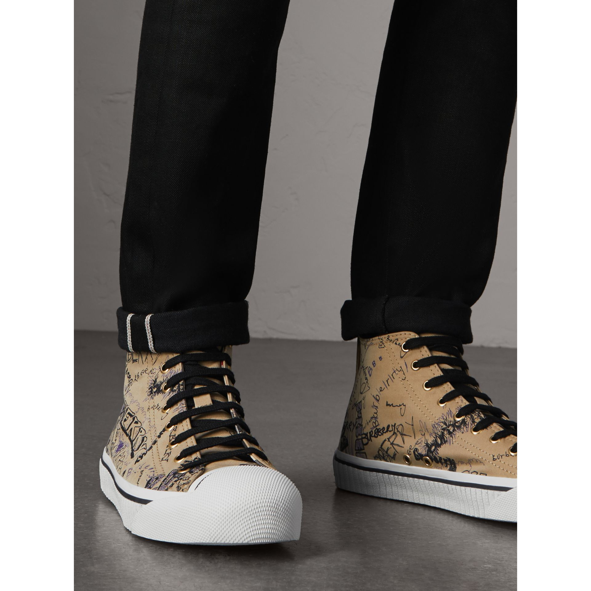 Doodle Print Cotton Gabardine High-top Trainers in Honey - Men | Burberry - gallery image 2