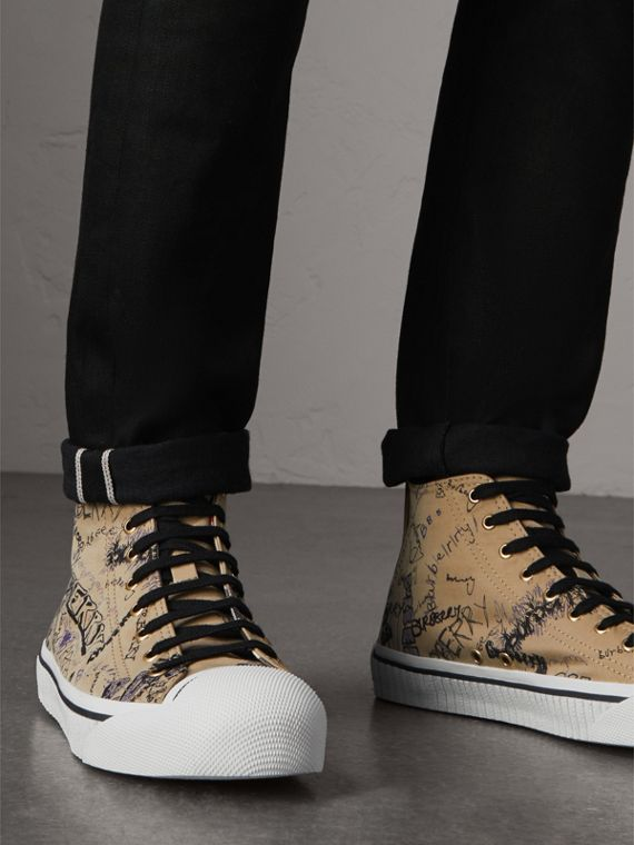 Doodle Print Cotton Gabardine High-top Trainers in Honey - Men | Burberry - cell image 2