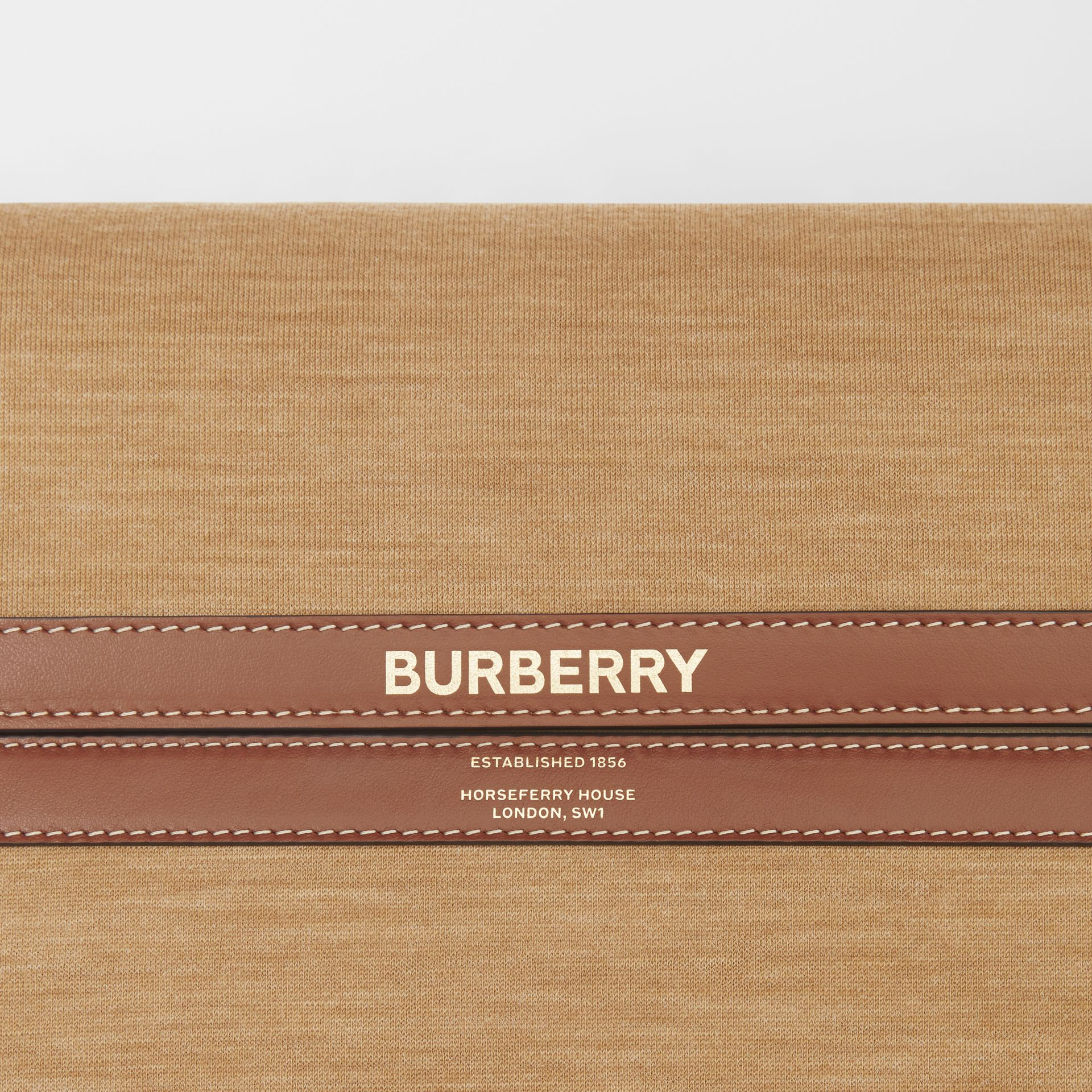 Large Jersey and Leather Grace Bag in Pecan Melange - Women | Burberry Canada - gallery image 1