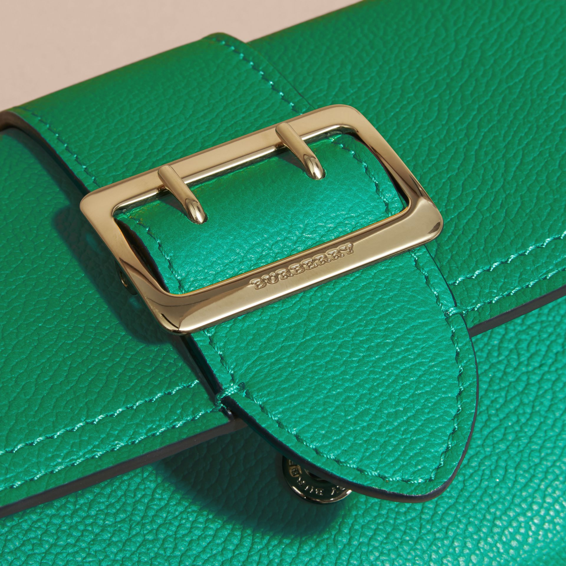 Textured Leather Continental Wallet Bright Pigment Green - gallery image 5