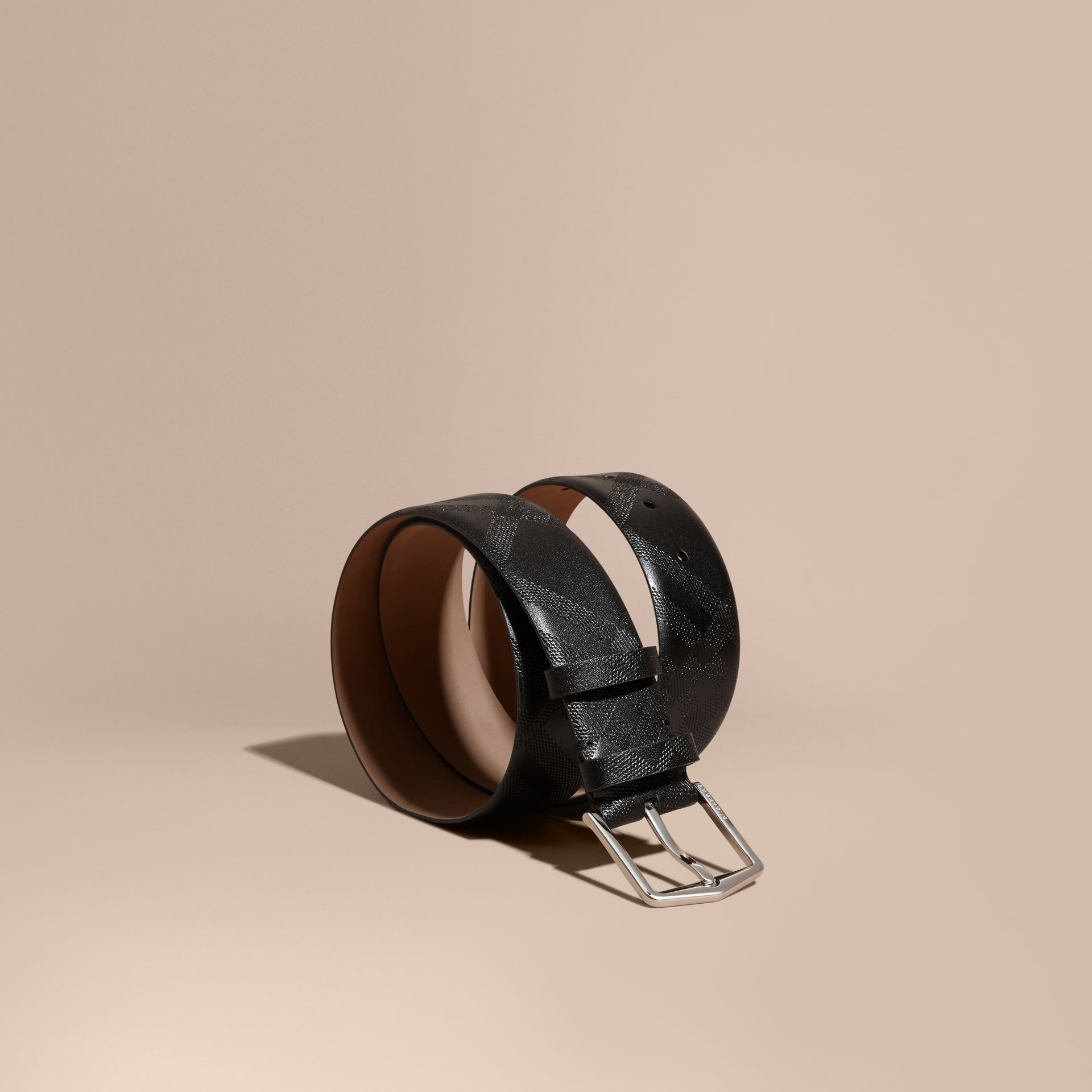 Leather Trim London Check Belt Black - gallery image 1