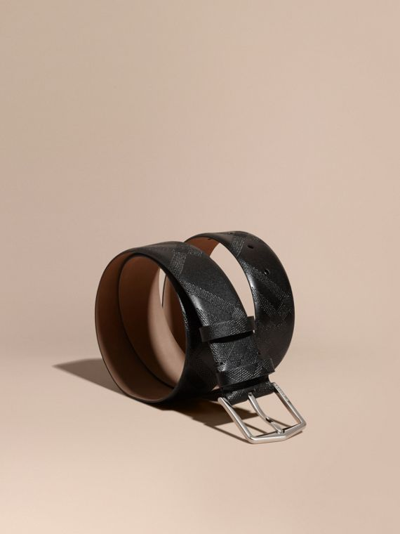 Leather Trim London Check Belt Black