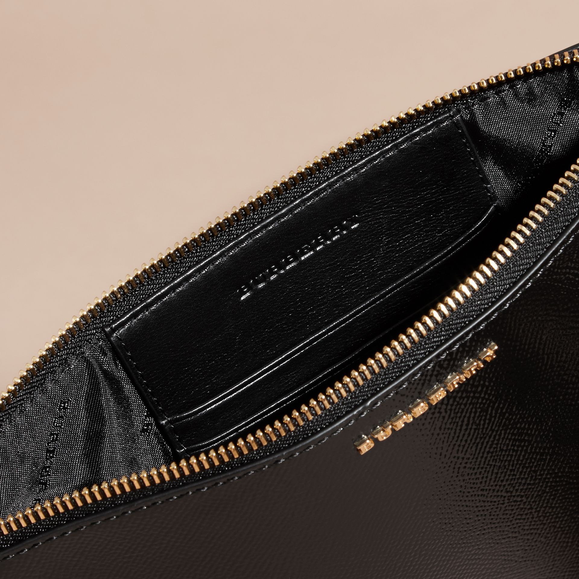 Patent London Leather Clutch Bag in Black - gallery image 6