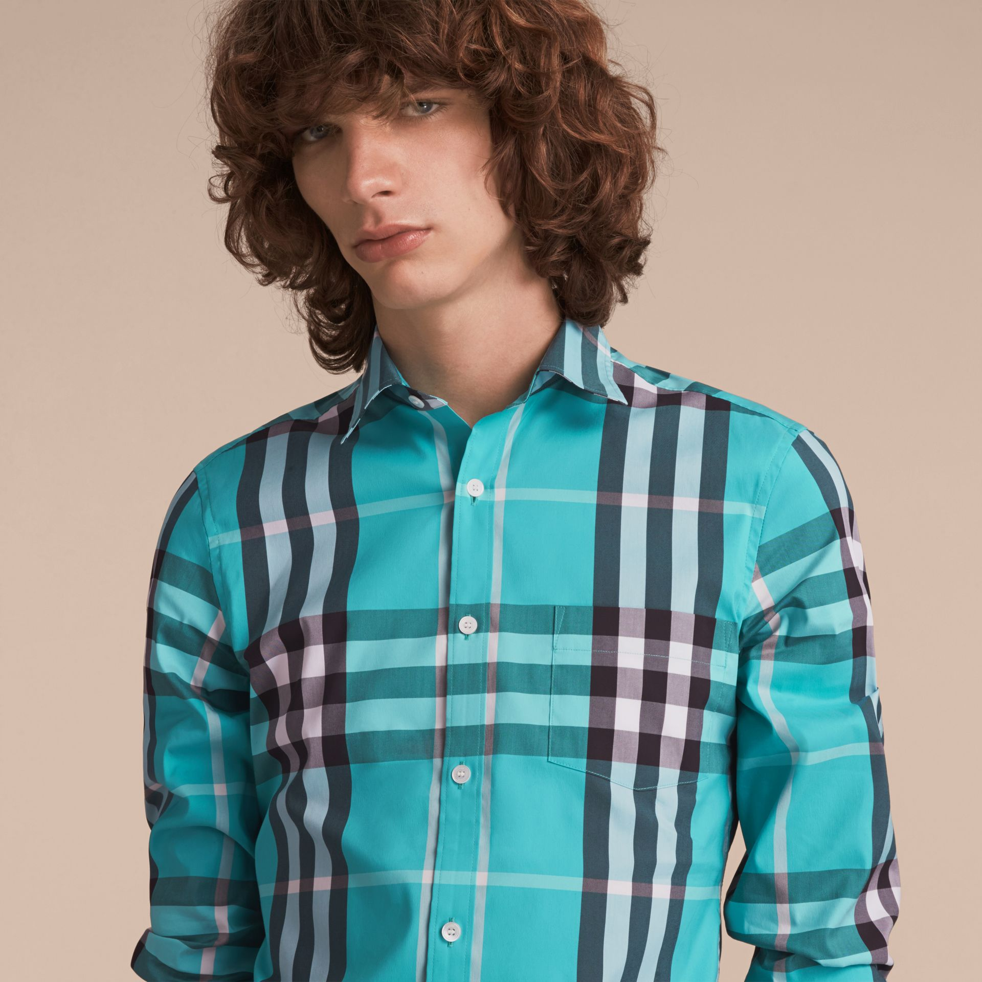 Check Stretch Cotton Shirt in Cyan Green - Men | Burberry Canada - gallery image 5