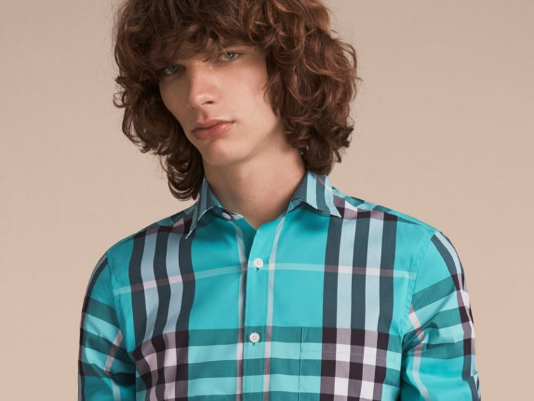 Check Stretch Cotton Shirt in Cyan Green - Men | Burberry Canada - cell image 4