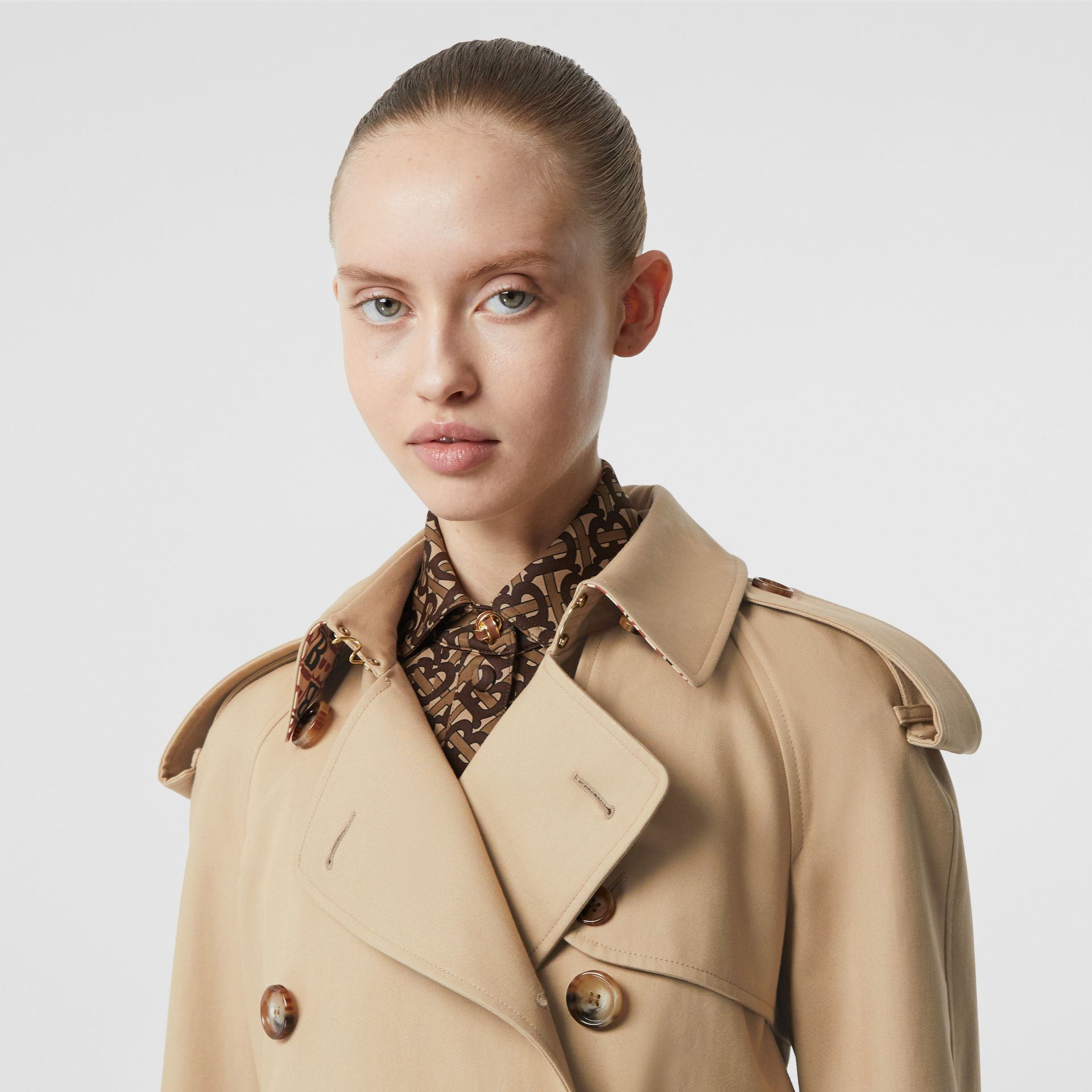 Archive Print-lined Cotton Gabardine Trench Coat in Honey - Women | Burberry United Kingdom - gallery image 1
