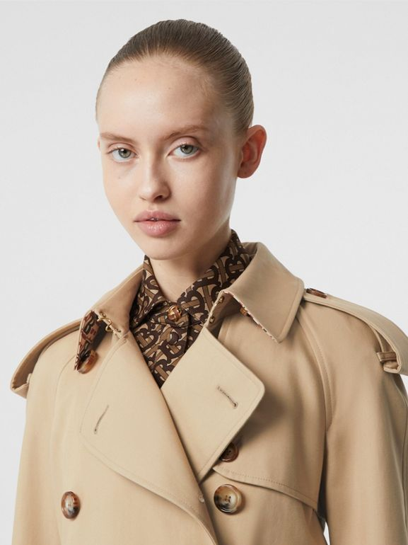 Archive Print-lined Cotton Gabardine Trench Coat in Honey - Women | Burberry United Kingdom - cell image 1