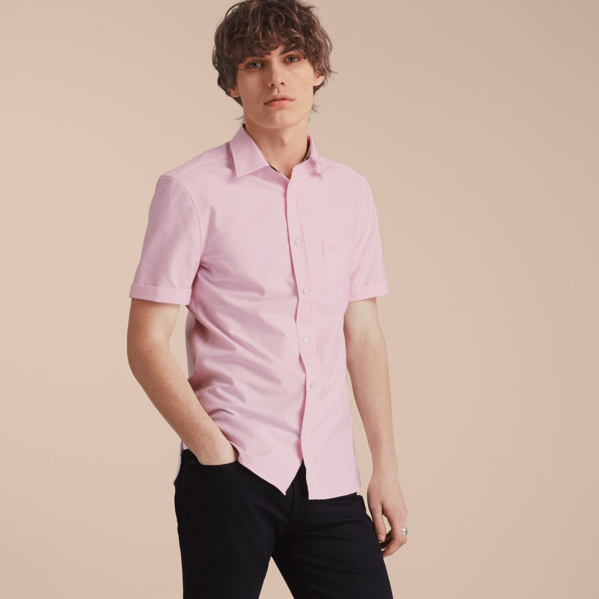 Check Detail Short-Sleeved Cotton Oxford Shirt in Pale Pink - gallery image 6
