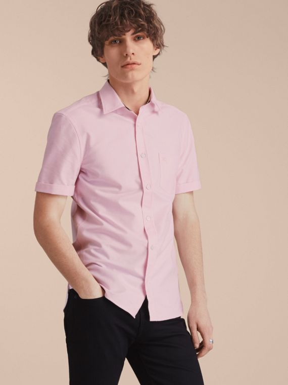 Check Detail Short-Sleeved Cotton Oxford Shirt Pale Pink