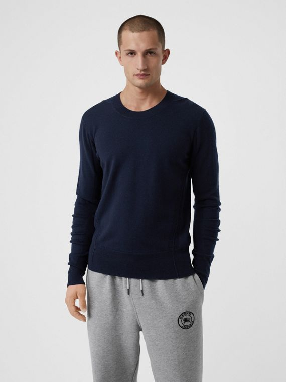 Check Detail Merino Wool Sweater in Navy
