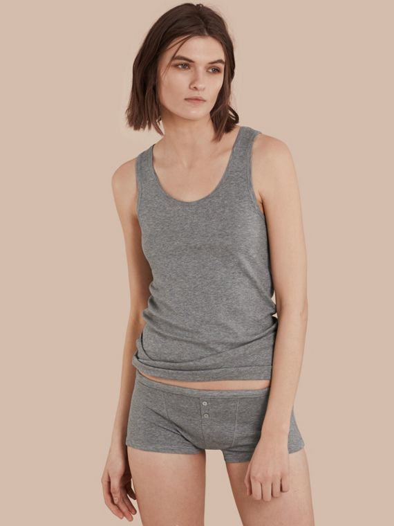 Stretch Cotton Lyocell Vest Pale Grey Melange