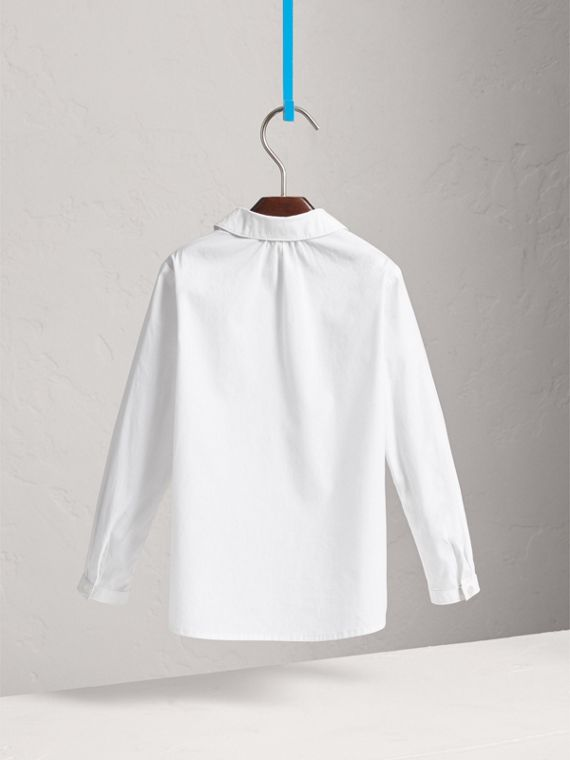 Peter Pan Collar Stretch Cotton Shirt in White - Girl | Burberry United Kingdom - cell image 3
