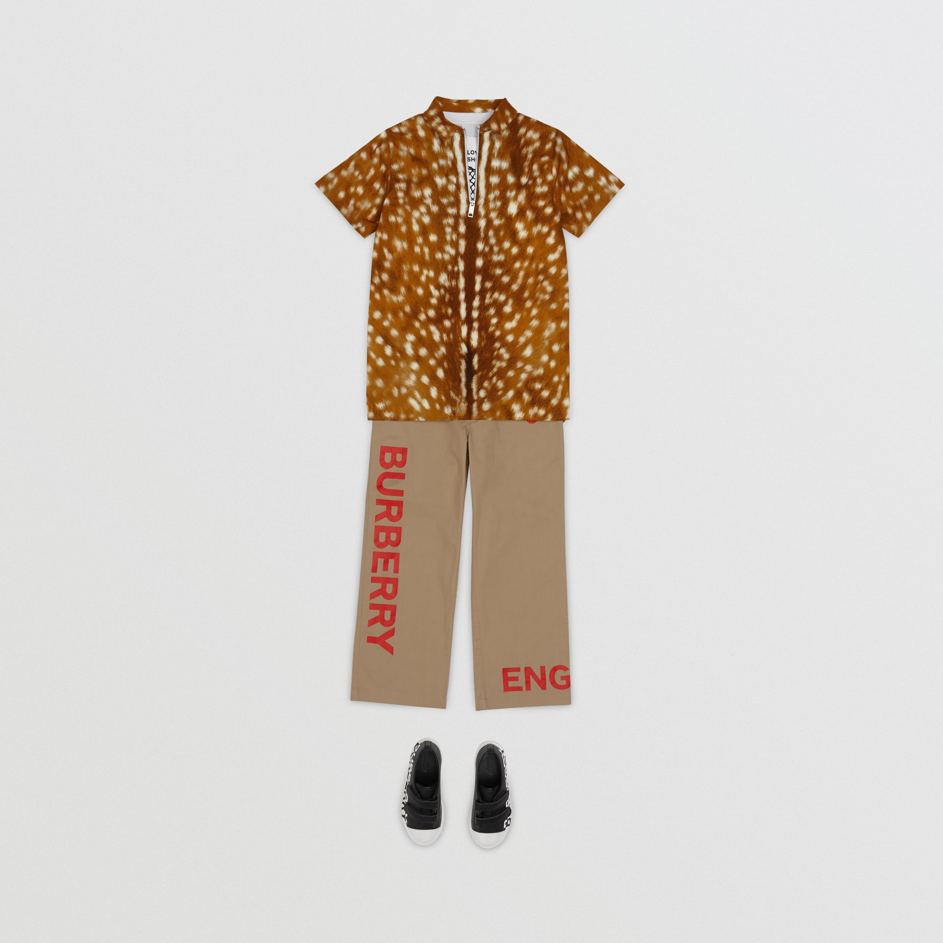 Short-sleeve Deer Print Cotton Shirt in Honey | Burberry - gallery image 2