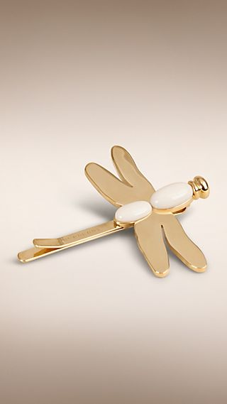 Prendedor de cabelo com detalhe de libélula