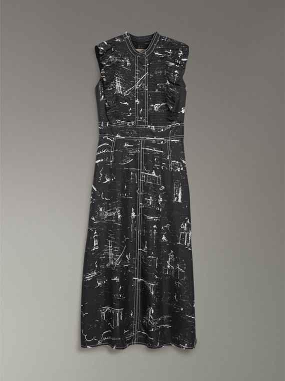 Ruffle Detail Landmark Print Silk Dress in Black - Women | Burberry United States - cell image 3