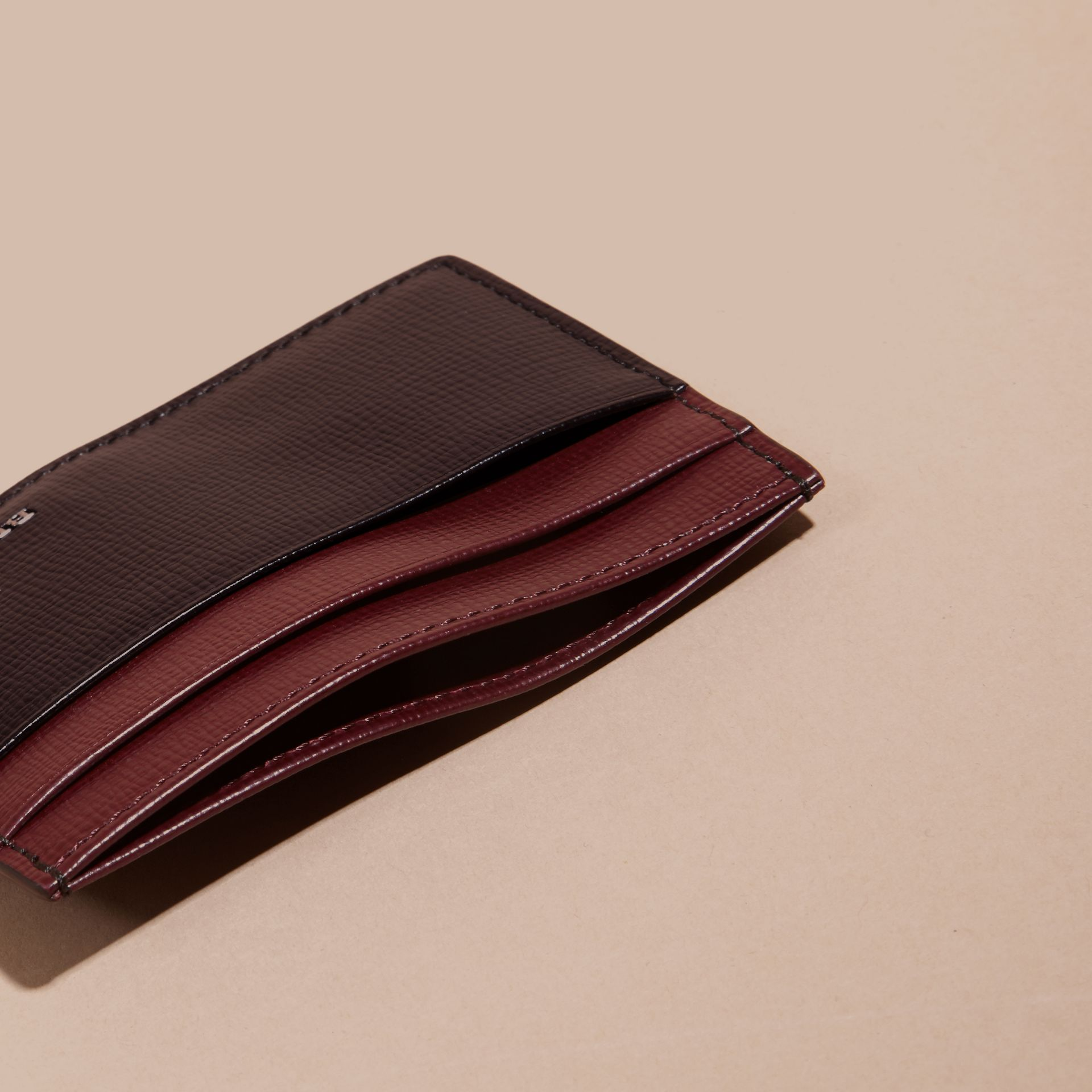 Wine/burgundy red Colour Block London Leather Card Case Wine/burgundy Red - gallery image 5