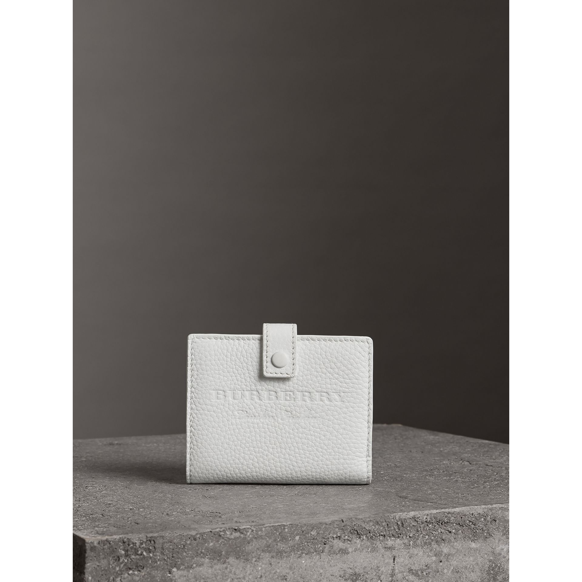 Embossed Leather Folding Wallet in Chalk White - Women | Burberry - gallery image 4