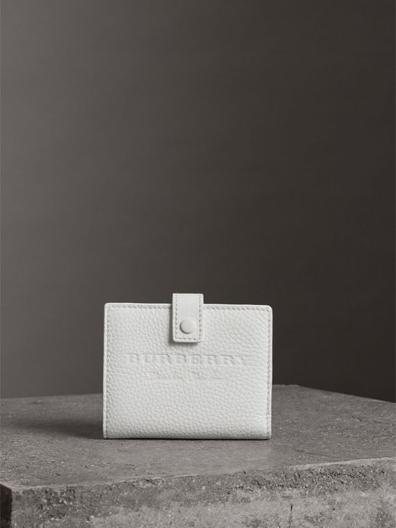 Embossed Leather Folding Wallet in Chalk White