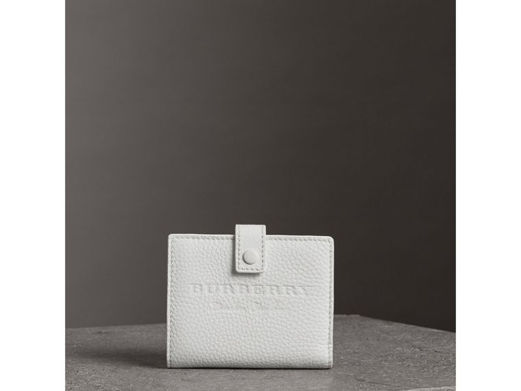Embossed Leather Folding Wallet in Chalk White - Women | Burberry United States - cell image 4