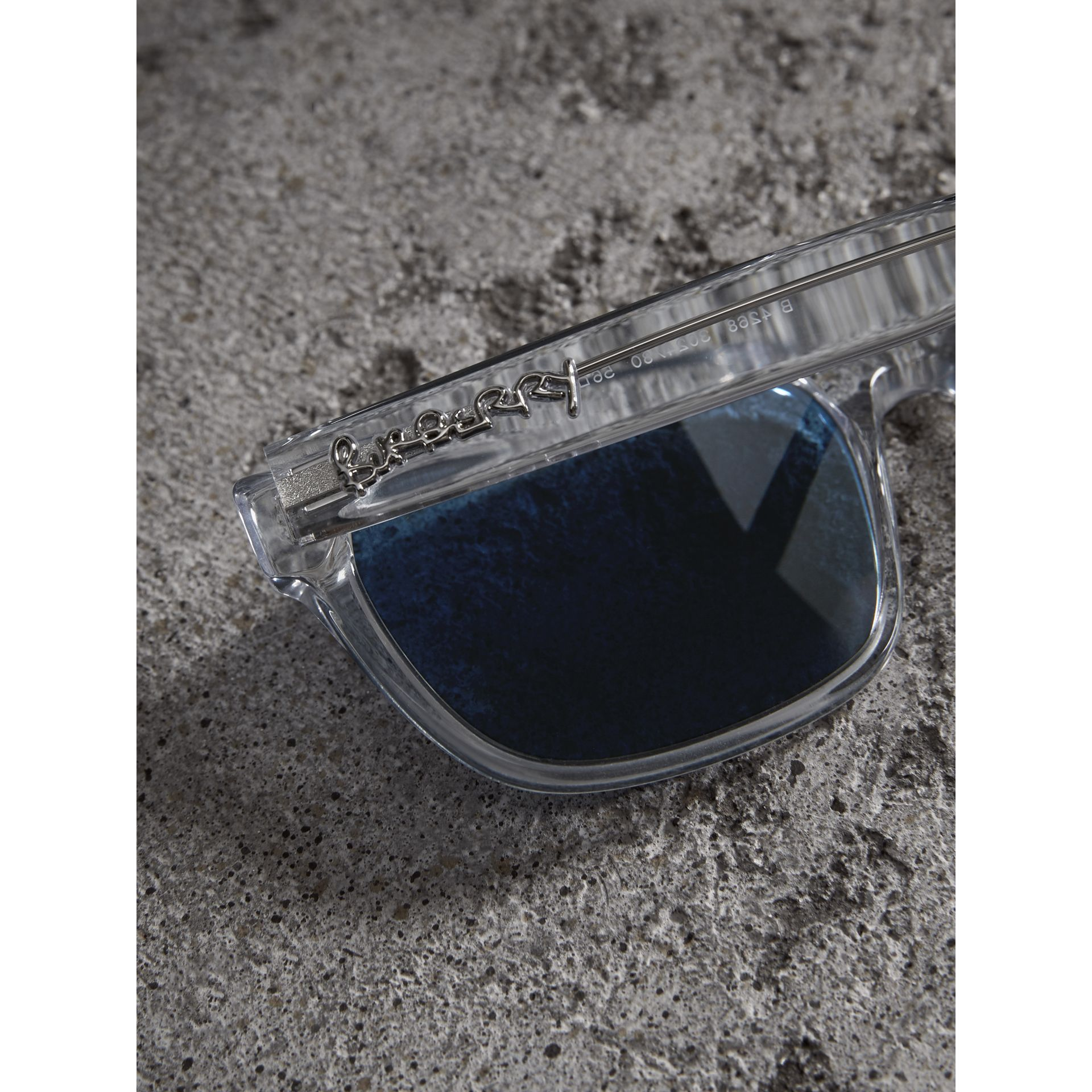 Doodle Square Frame Sunglasses in Crystal - Men | Burberry - gallery image 1