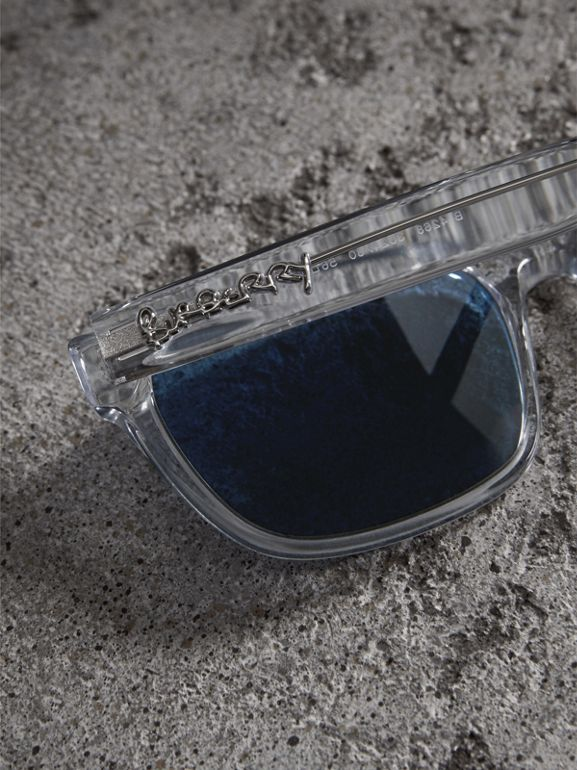 Doodle Square Frame Sunglasses in Crystal - Men | Burberry - cell image 1