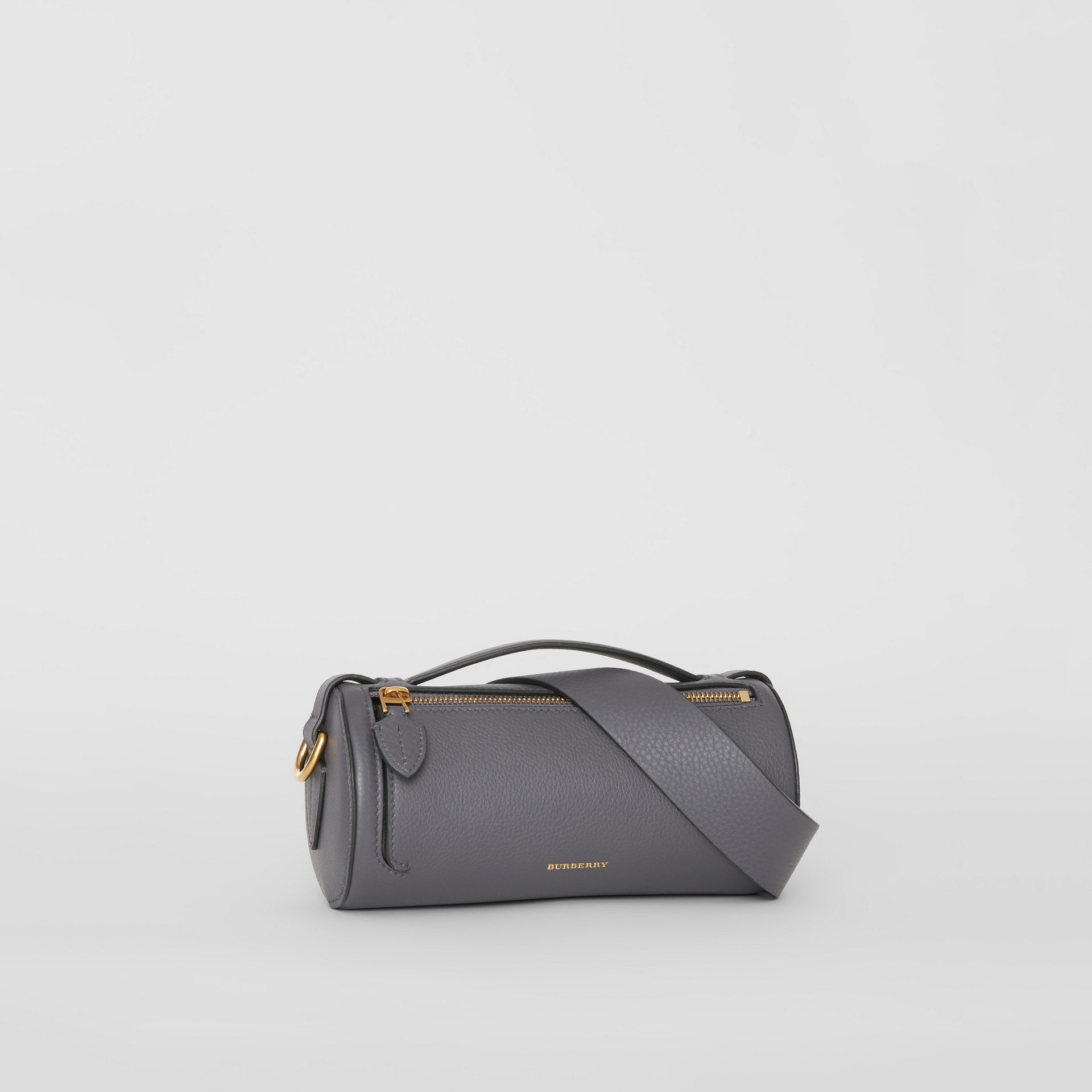 The Leather Barrel Bag in Charcoal Grey - Women | Burberry - gallery image 4