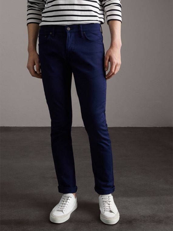 Straight Fit Unwashed Stretch Denim Jeans