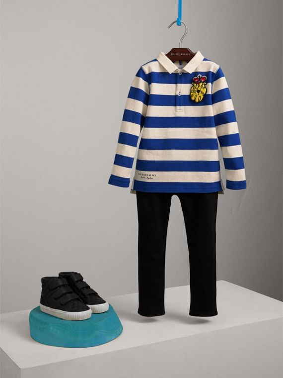 London Icons Motif Cotton Rugby Shirt in Cobalt Blue/natural White | Burberry - cell image 2