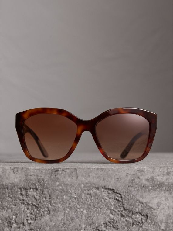 Square Frame Sunglasses in Light Brown - Women | Burberry United States - cell image 3