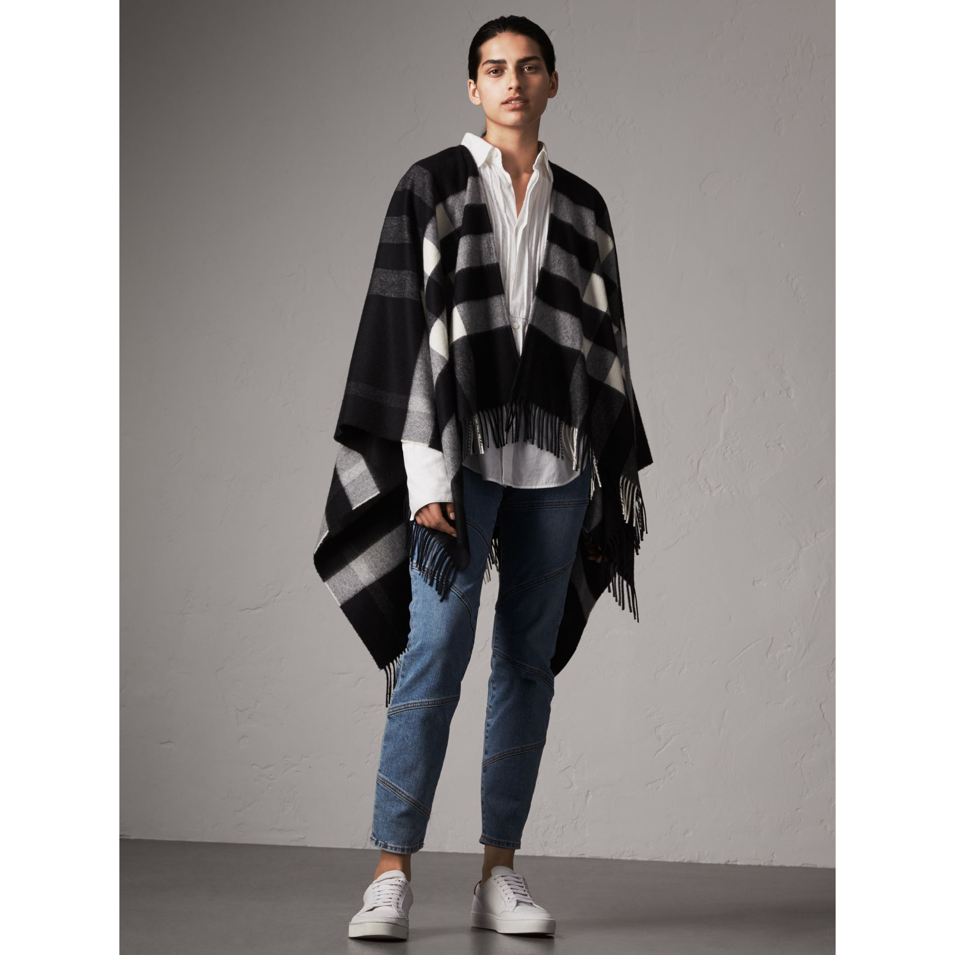 Check Cashmere and Wool Poncho in Black - Women | Burberry Australia - gallery image 1