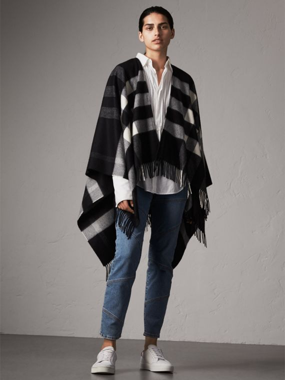 Check Cashmere and Wool Poncho in Black - Women | Burberry