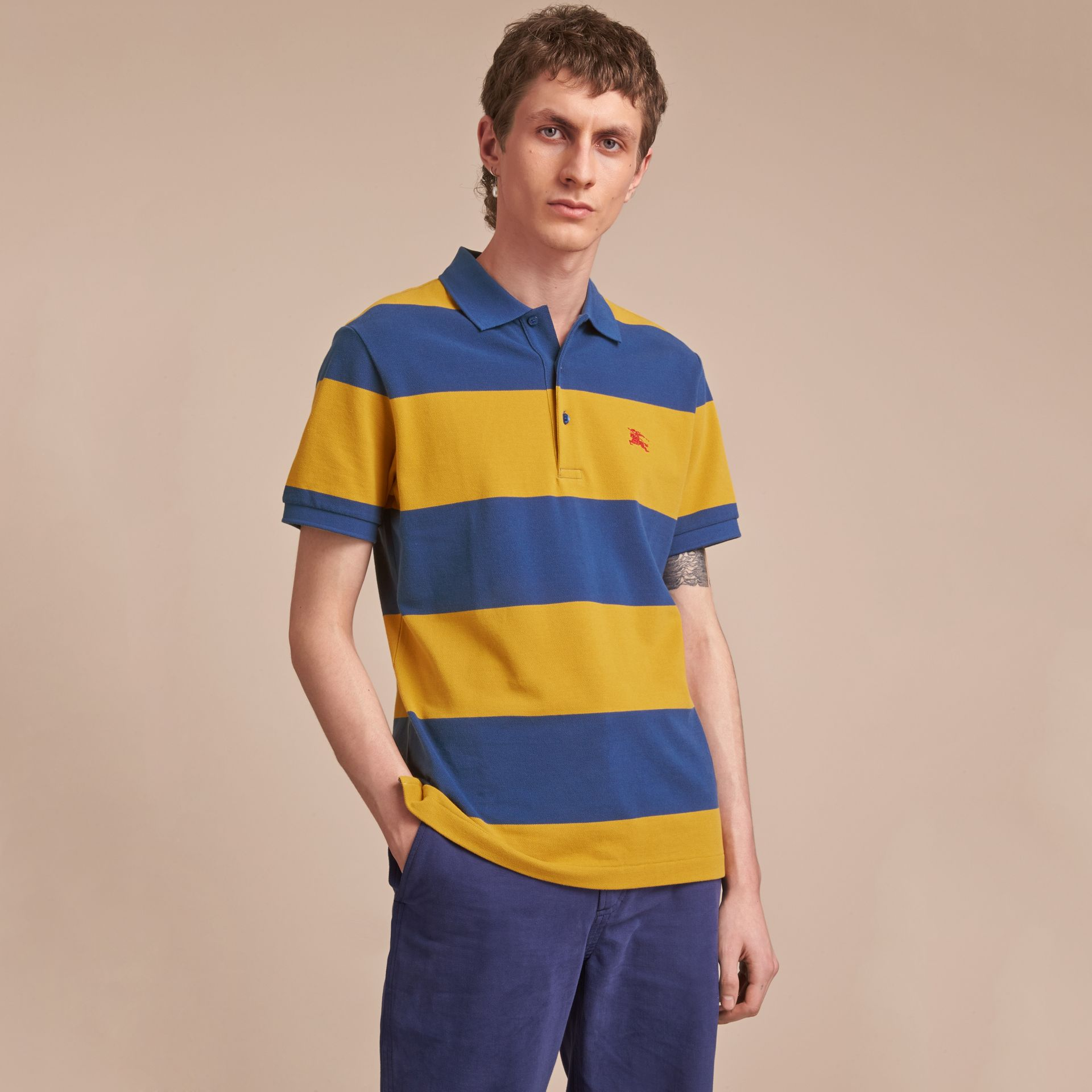 Striped Cotton Piqué Polo Shirt in Ochre Yellow/bright Navy - Men | Burberry - gallery image 6