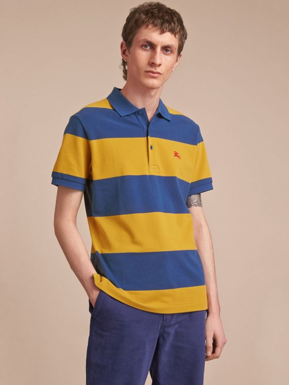 Striped Cotton Piqué Polo Shirt Ochre Yellow/bright Navy