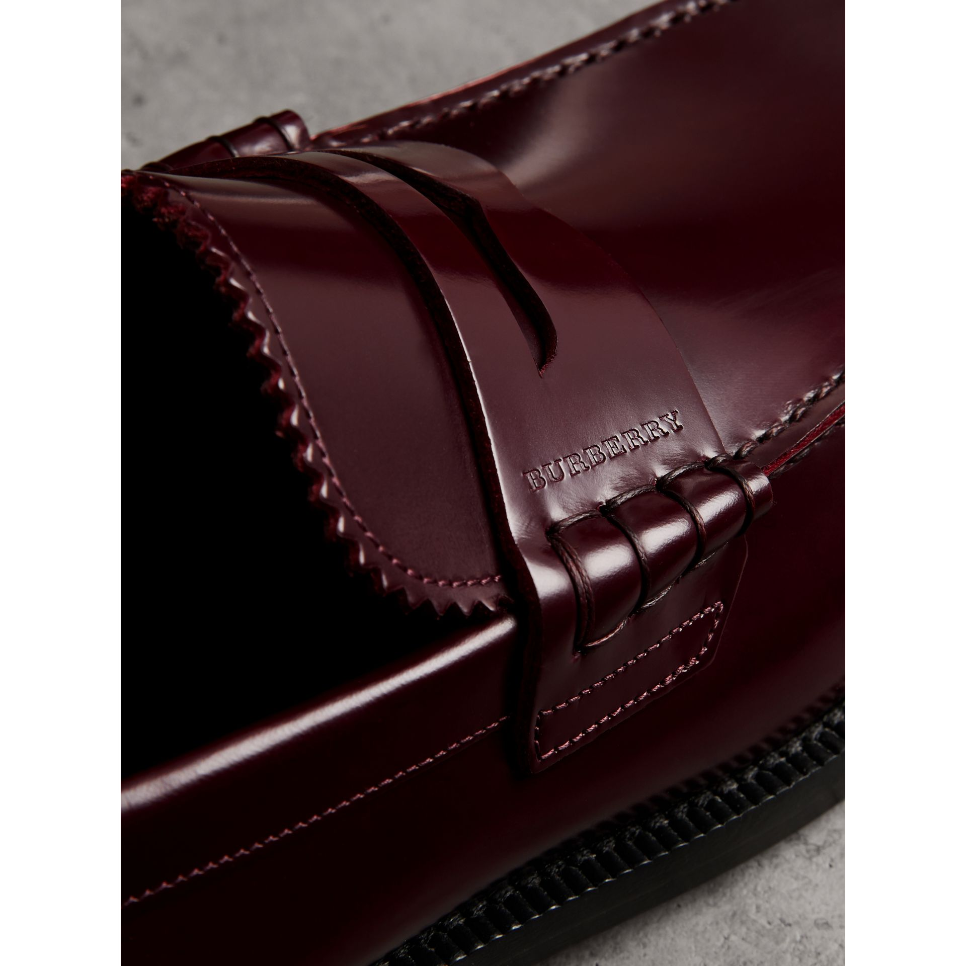 Leather Penny Loafers in Ebony Red - Men | Burberry Singapore - gallery image 1