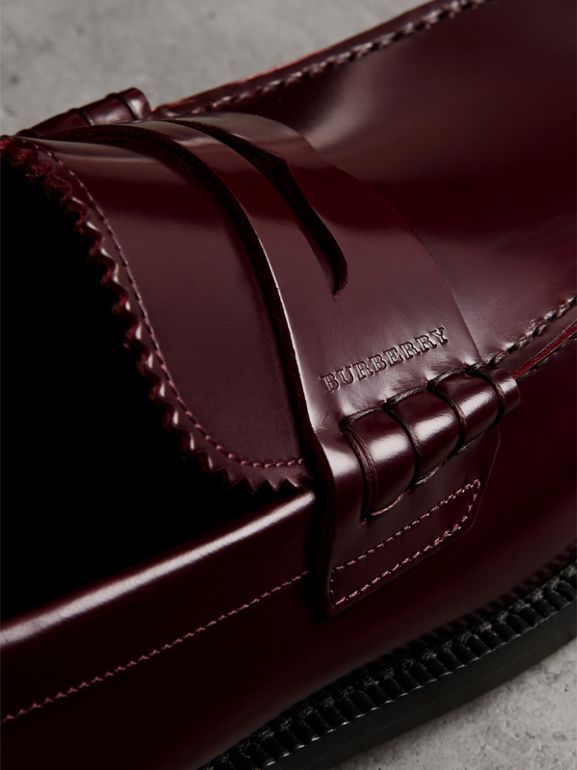 Leather Penny Loafers in Ebony Red - Men | Burberry United Kingdom - cell image 1