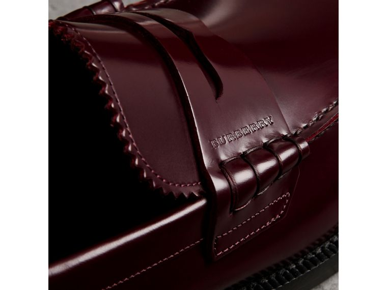 Leather Penny Loafers in Ebony Red - Men | Burberry - cell image 1