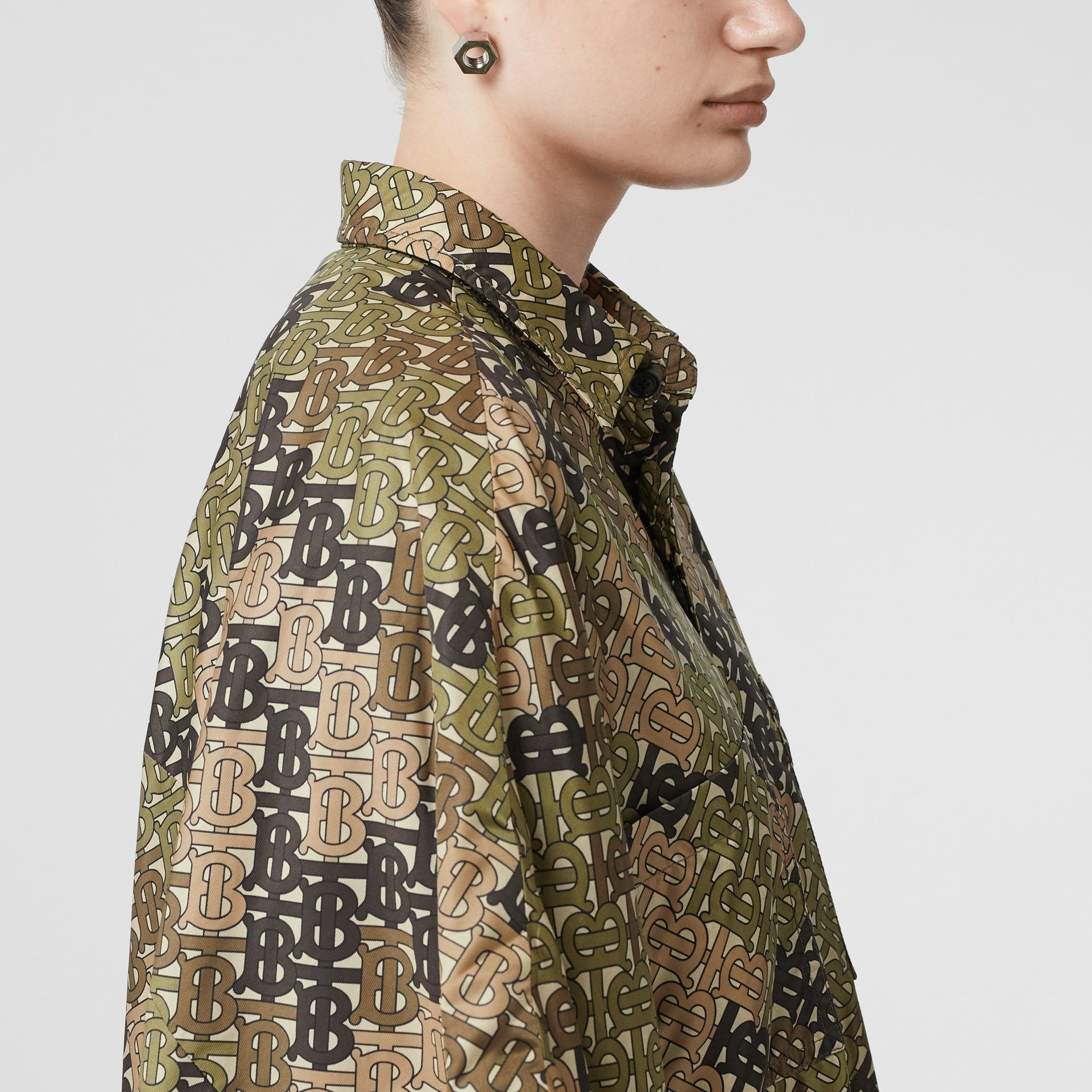 Monogram Print Nylon Twill Poncho in Khaki Green - Women | Burberry - gallery image 1