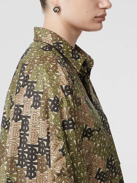 Monogram Print Nylon Twill Poncho in Khaki Green - Women | Burberry - cell image 1