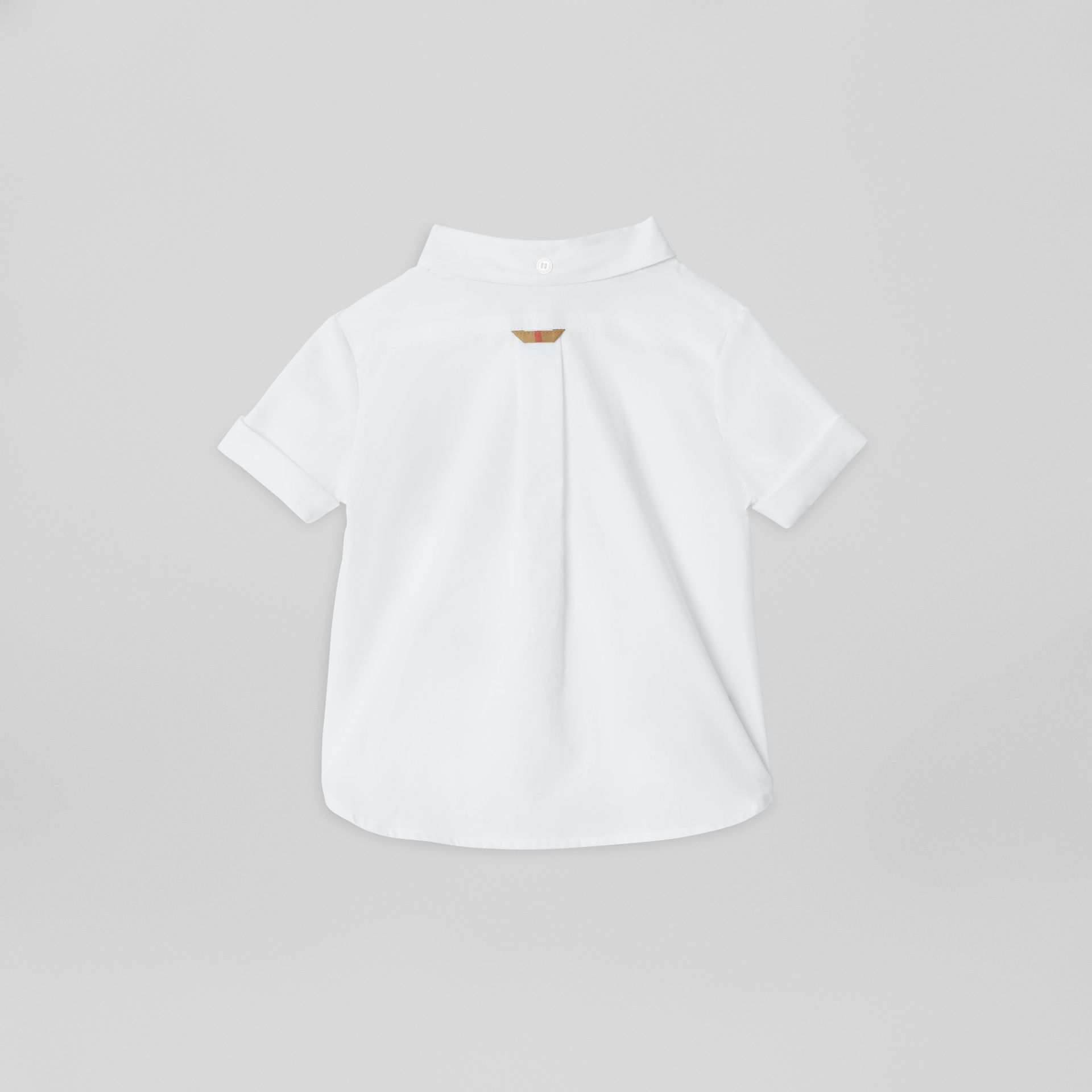 Short-sleeve Check Detail Cotton Oxford Shirt in White - Children | Burberry United Kingdom - gallery image 3